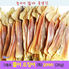 명품 쫄쫄이 당일잡이 오징어(특대)20미(2kg기준)/당일바리/ 마른 오징어 / 포항 죽도시장